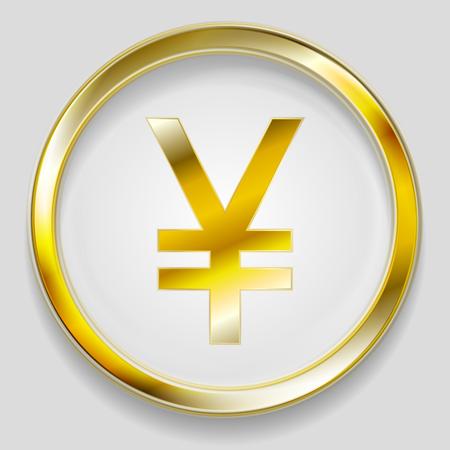 Concept golden yuan symbol logo in round button. Vector background