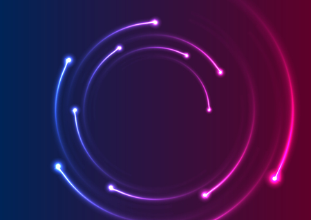 Colorful neon spiral lines abstract futuristic background. Vector design