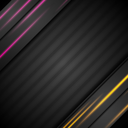 Black abstract tech background with glowing lines. Vector design