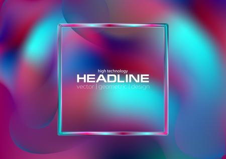 Holografische vloeibare gladde golven abstracte achtergrond met vierkante frame
