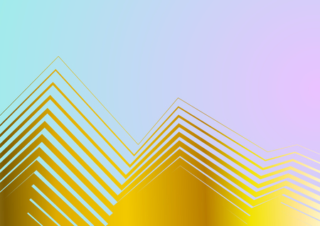 Minimal pastel abstract background with golden curved stripes. Vector design