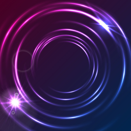 Shiny blue purple glowing neon colorful circles abstract background. Modern luminous vector circular design Illustration