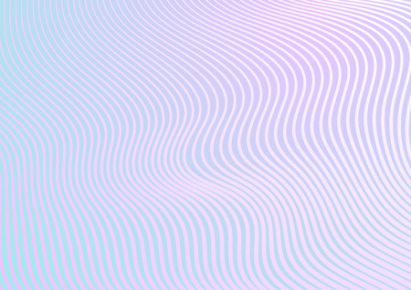 Minimal pastel trendy refracted curved waves abstract background. Vector design Çizim