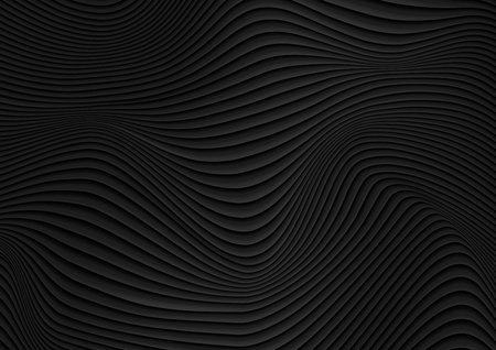 Black liquid abstract 3d refracted waves abstract background. Vector design