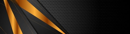 Black and bronze stripes on dark perforated background. Vector design Foto de archivo - 123084638