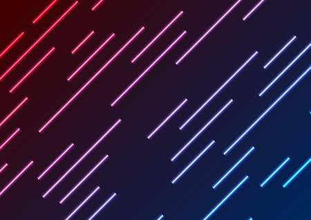 Red and blue neon laser rays abstract technology background. Vector geometry design Illustration