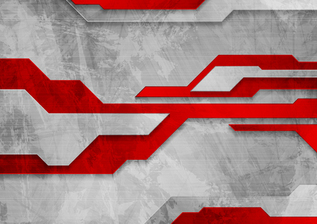 Red and grey tech grunge abstract background. Vector design