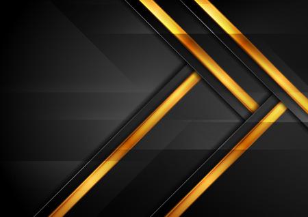 Schwarzer und goldener abstrakter Hightech- geometrischer Hintergrund. Vektordesign