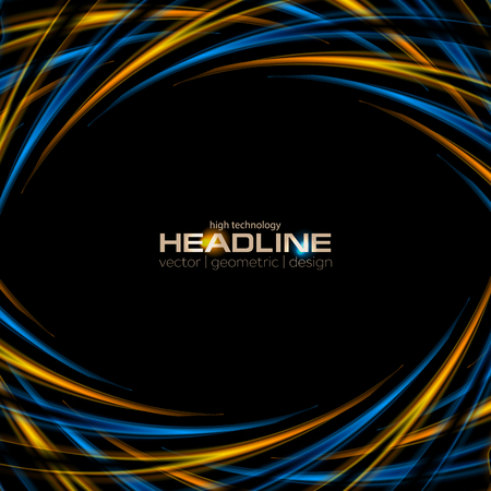 Abstract tech modern blue and orange background. Vector design