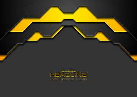 Abstract black and orange corporate hi-tech background. Vector modern design