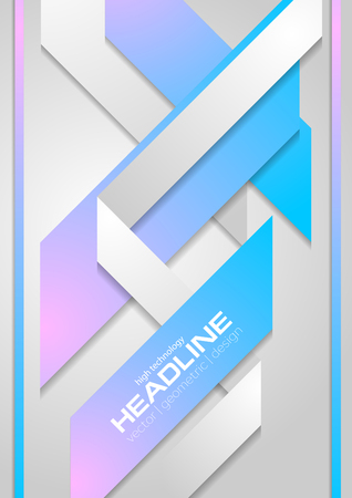 Abstract blue and pink geometric paper flyer design. Vector tech background