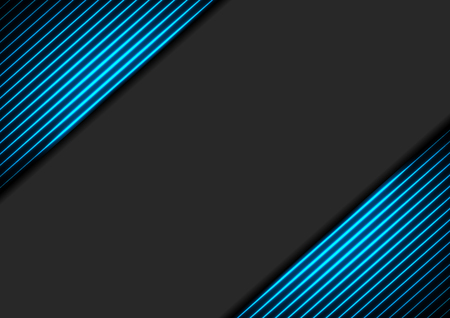 Black abstract corporate background with blue neon glowing lines. Vector hi-tech design