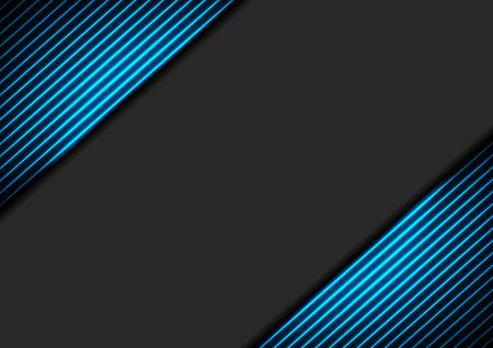 Sfondo aziendale astratto nero con linee luminose al neon blu. Design hi-tech vettoriale