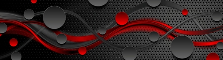 Perforated tech banner with red black smooth waves and circles. Vector background
