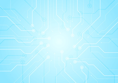 Light blue circuit board chip technology background. Vector graphic design
