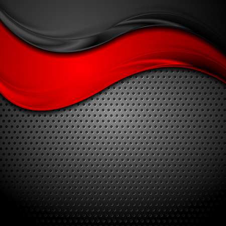 Abstract red black glossy waves on dark perforated metallic background. Vector design Illustration