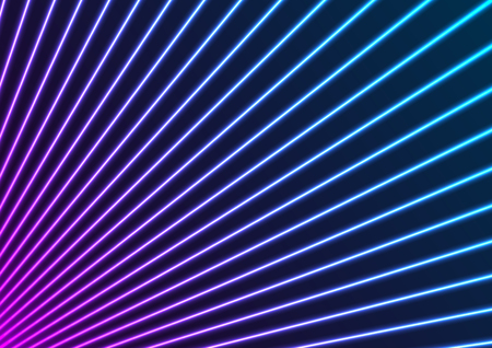 Blue and purple neon laser rays lines abstract futuristic background. Technology vector design Ilustração