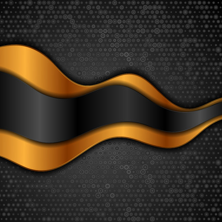 Corporate abstract background with golden and black waves. Vector design Standard-Bild - 128176442