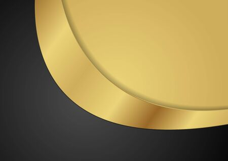 Black and golden corporate abstract background with wave. Vector design Standard-Bild - 128176467
