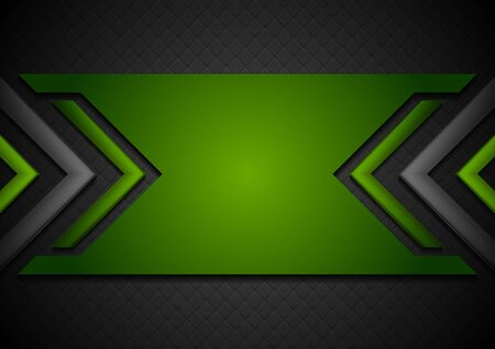 Black and green abstract tech background with glossy arrows. Vector corporate geometric design