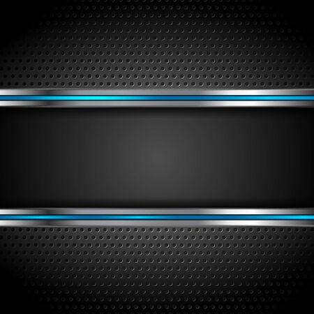 Technologia metalowe perforowane tło z niebieskimi paskami. Ilustracja wektorowa