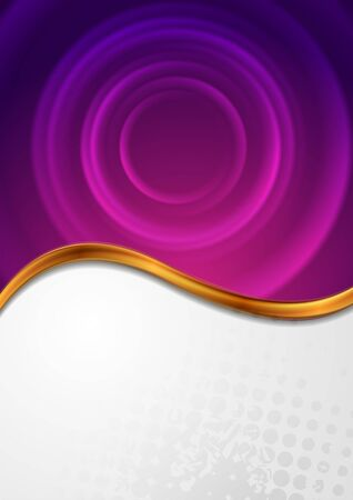 Abstract grunge background with golden wave and purple circles. Vector illustration Standard-Bild - 128176518