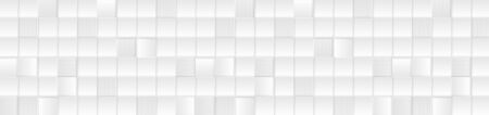 Mosaic tech texture with silver grey squares. Technology geometric web banner design, 3d tiles pattern. Vector monochrome background Иллюстрация