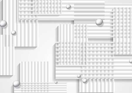 Geometric vector graphic design with grey stripes and pearl beads. Technology silver glossy 3d spheres. Abstract corporate background.