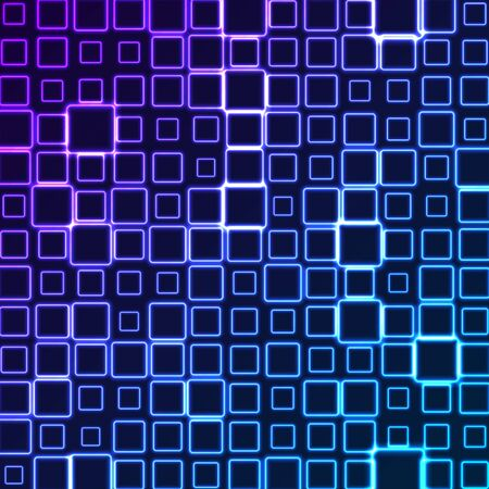 Bright pattern of neon squares. Abstract background with blue and violet tech geometric shapes. Glowing iridescent vector design Ilustração