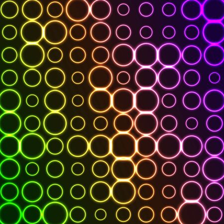 Bright pattern of neon circles. Abstract background with violet and green tech geometric rings. Glowing iridescent vector design