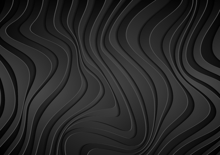 Black 3d paper refracted curved waves. Abstract dark papercut elegant wavy background. Vector geometric design Illustration