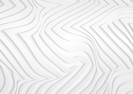 White grey 3d paper refracted curved stripes. Abstract light papercut elegant wavy background. Vector geometric design
