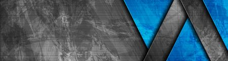 Contrast dark grey and blue geometric stripes. Abstract grunge tech banner design. Old wall concrete texture. Vector corporate background