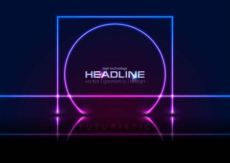 Blue ultraviolet neon laser lines concept illustration. Reflected square and circle geometric technology sci-fi background. Glowing illumination futuristic vector design Illustration