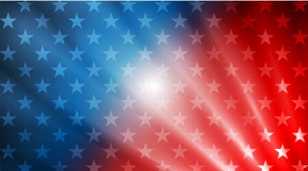USA colors, stars and rays abstract bright poster design. Independence Day modern vector background. Concept american flag