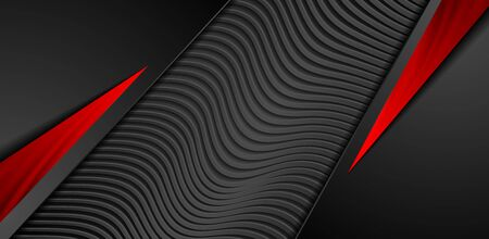 Red and black abstract background with glossy stripes. Corporate geometric design. 3d refracted waves dark paper texture. Vector illustration