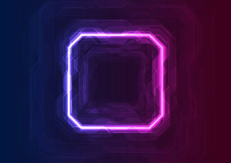 Blue and purple neon geometric lines abstract tech background. Vector sci-fi design