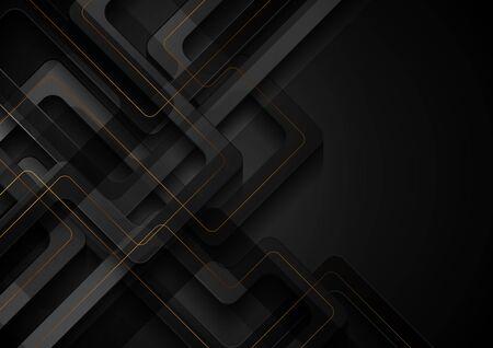 Schwarzer geometrischer moderner Hintergrund mit abstrakten goldenen Linien. Vektordesign