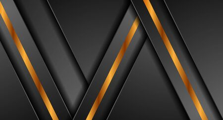 Black abstract corporate graphic design with golden stripes.