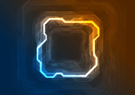 Blue and orange neon geometric lines abstract tech background. Vector glowing sci-fi design