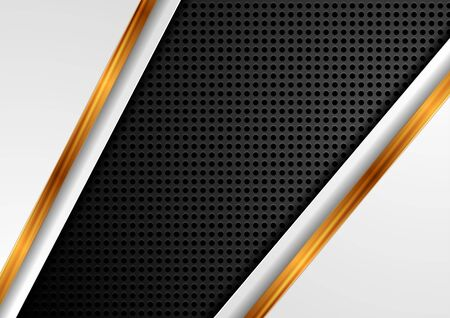 Abstract hi-tech background with golden glossy stripes. Black perforated texture design. Vector illustration