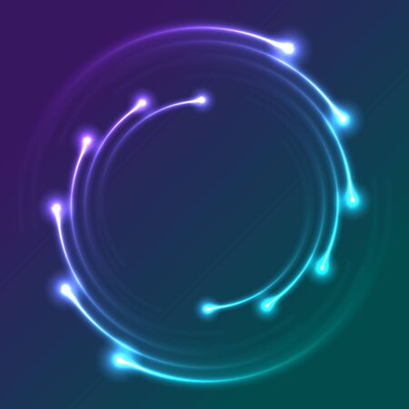 Colorful neon spiral lines abstract futuristic background. Vector glowing design Vetores