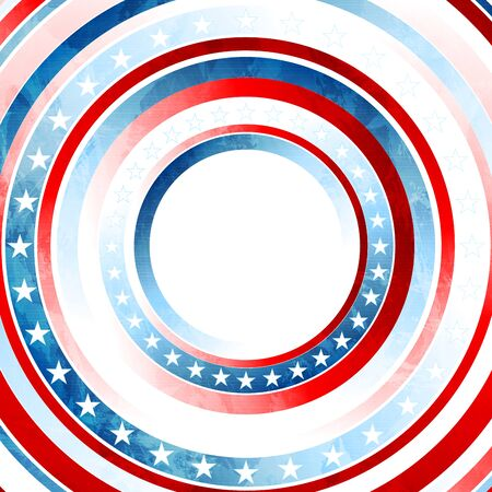 USA colors, stars and round stripes abstract grunge graphic design. Independence Day modern background. Concept american flag. Vector illustration