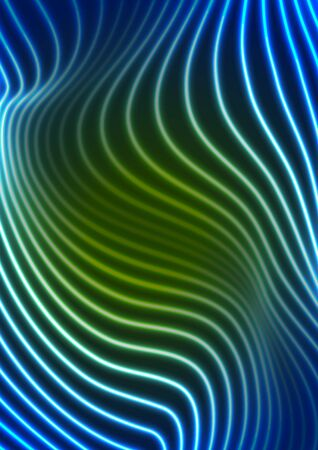 Abstract futuristic green blue neon wavy lines graphic design. Curved 3d flowing waves tech background. Vector illustration Ilustrace