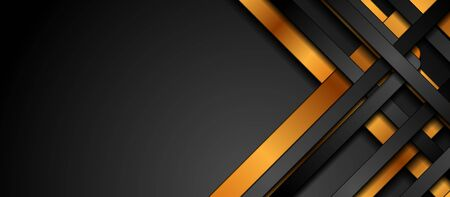 Black and golden smooth stripes abstract corporate graphic design.