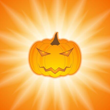 Orange Halloween pumpkin on sunshine