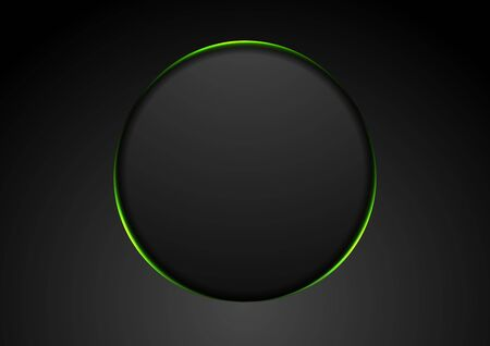 Black abstract circle shape with green glowing light tech Banco de Imagens - 130806096