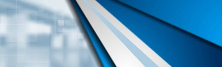 Abstract corporate technology blue stripes banner design. Ilustração