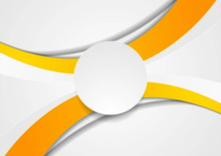Orange and white abstract wavy corporate  with paper circle.
