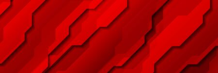 Bright red abstract technology header banner with stripes Ilustração